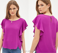 Ladies summer cloth ruffled short sleeves Crepe Woven Blouse