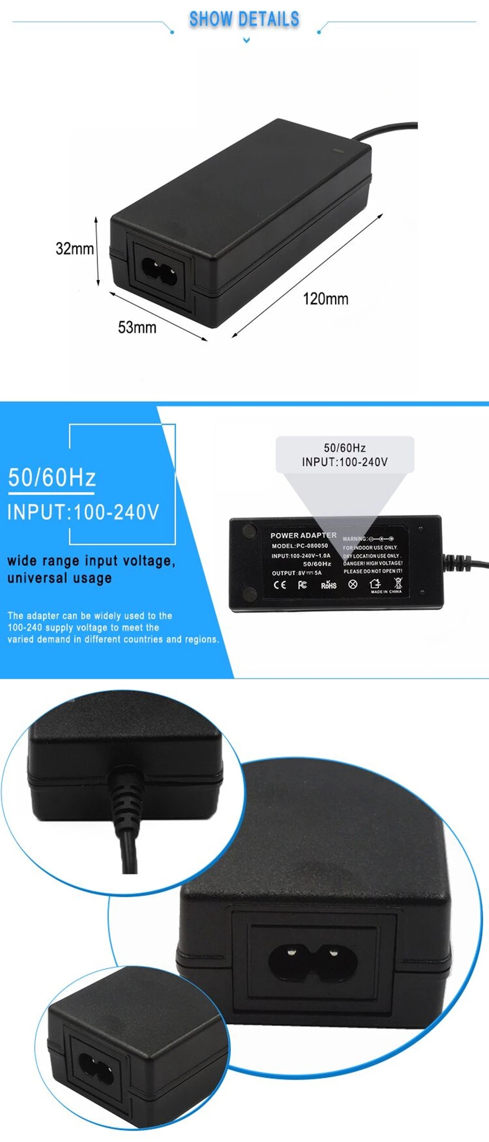 AC 100-240v 50-60hz DC 5V 7A Switch Power Supply 35W Power Adapter