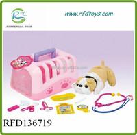 Pet set plastic toy dog house play set baby plush dog pet house toy