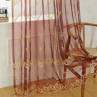 100% polyester fabric sheer embroidery curtain/flower embroidered organza curtain sheer panel drapes