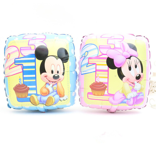 Lucky 1pcs 45*45cm Square Mickey / Minnie Inflatable Foil Balloons Mouse Birthday Party Decorations Kids Toys Helium Balloon