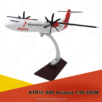 Die casting resin real scale 30CM size Avianca desk model airplanes ATR72 1:200 for sale