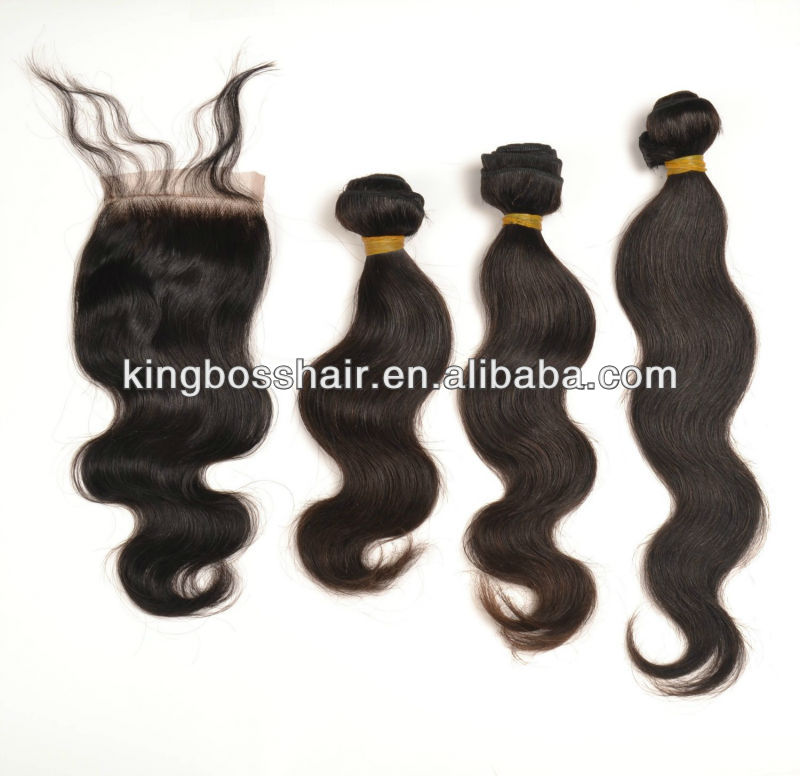 High Quality 100% Virgin Brazilian Human Hair Body Wave 12''14'''16 ''And Lace Closure natural Color fast Shipping