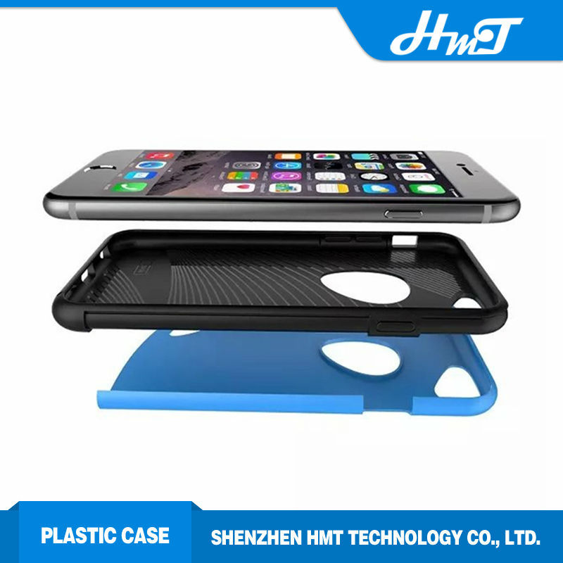 hybrid 2 in 1 case for iPhone 6 plus with logo hole for apple brand ,silicone with plastic case for iPhone for other cellphone