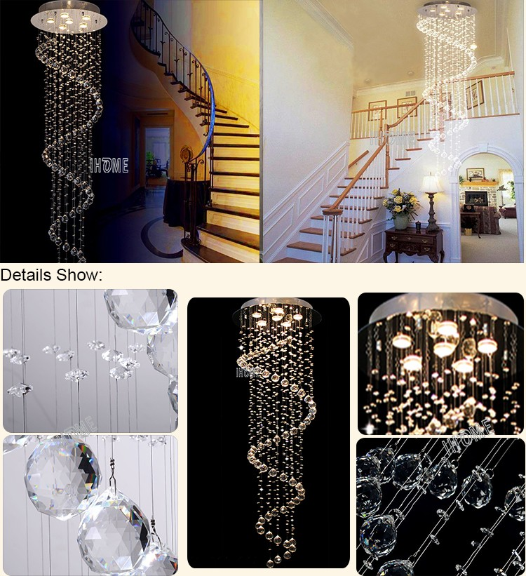 Classic design spiral stair style shape crystal Gu10 hanging lamp(IH-7106)