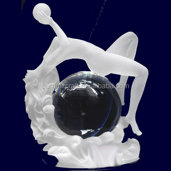 Customized clear frosted resin lady figurine water globe