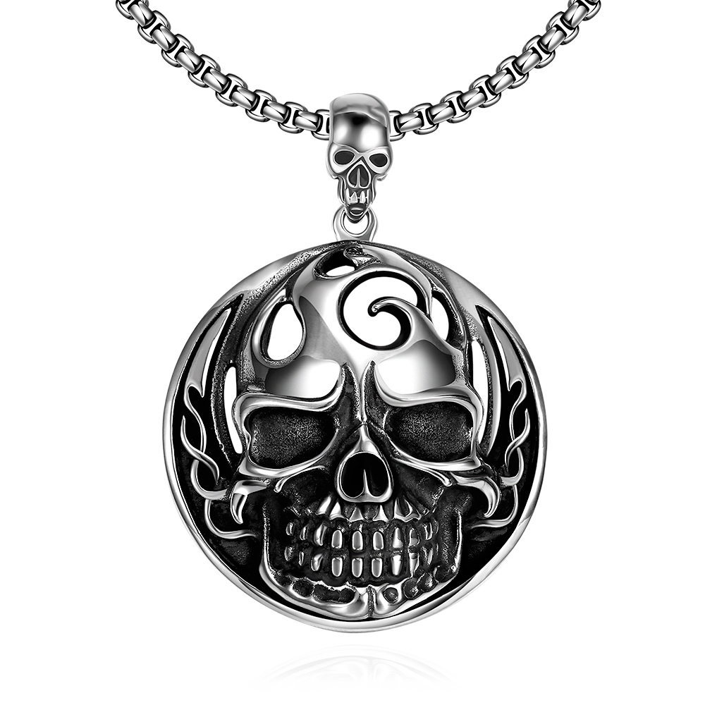 Mans Retro Cool Stainless Steel Oval Skull Pendant Necklace