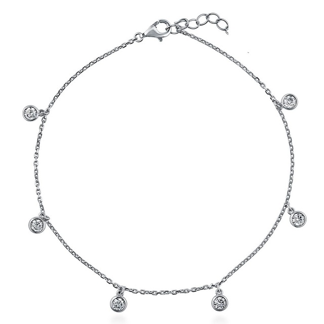 2017 classic simple 3mm cz drop charm beautiful girl women beach party jewelry silver anklet designs
