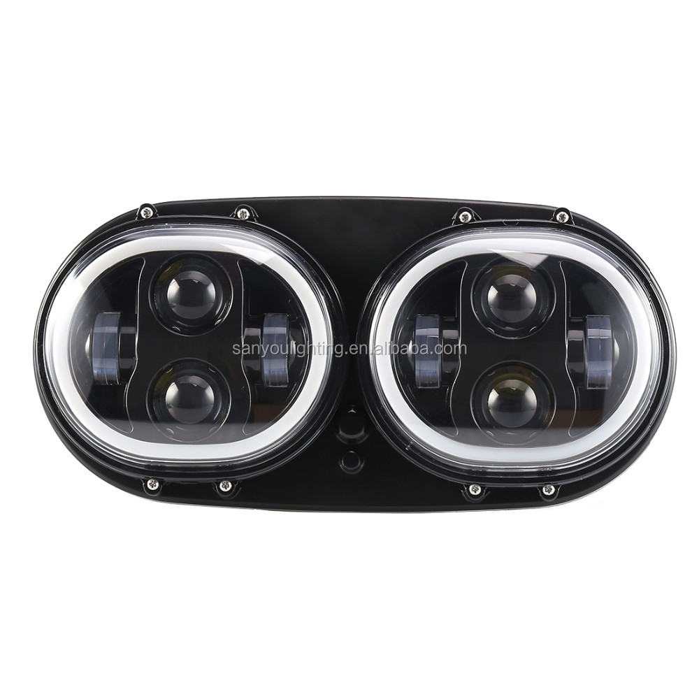 2017 hot sale 100w with angle eye led double headlight for harley slide guide