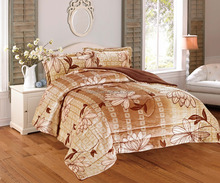 luxury printed flannel sherpa comforter set 3pcs