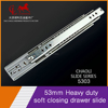 Hot sale 53mm three-fold full extension ball bearing telescopic heavy duty soft closing drawer slide