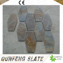 Competitive Price Decoration Wall Stone Hexagon Natural Rust Color Slate Tile