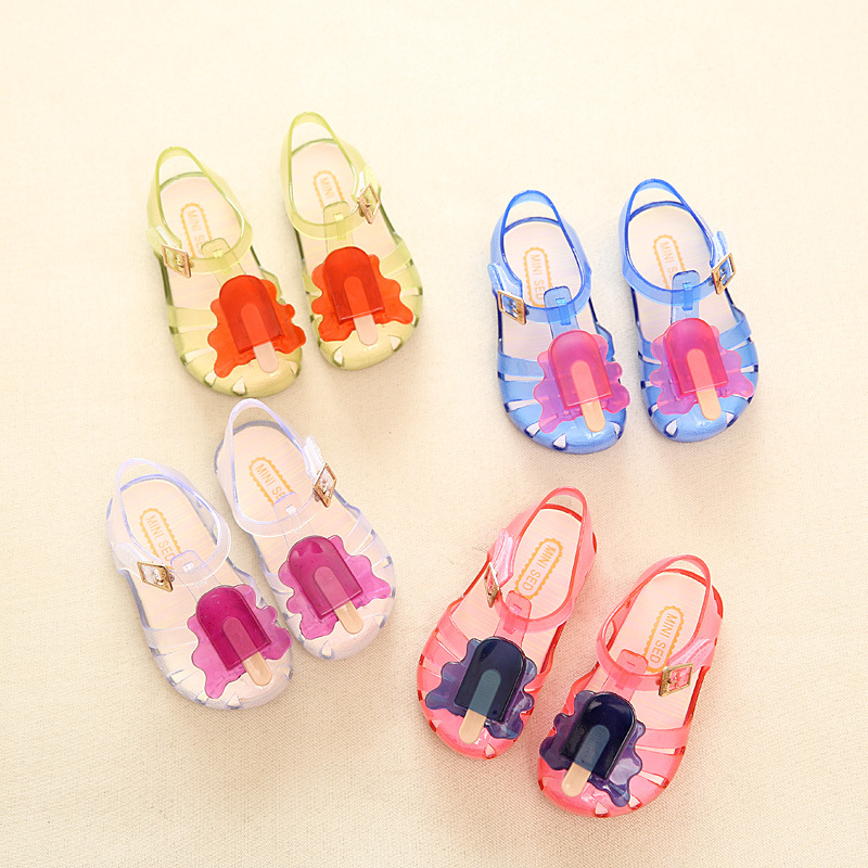 2016 New Kids Jelly Sandals For Baby Girls ice cream Children Summer Cute Cartoon Beach Shoes Infantil Sandalia