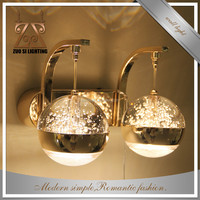 Beautiful stainless steel bubble crystal led wall light