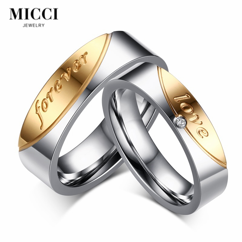 Wholesale custom titanium steel silver color couple <strong>rings</strong> engraved forever love <strong>ring</strong> for his and hers