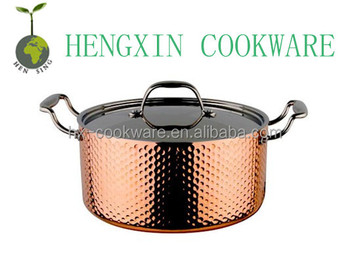 copper tri-ply hammered casserol pot triply copper pot with induction