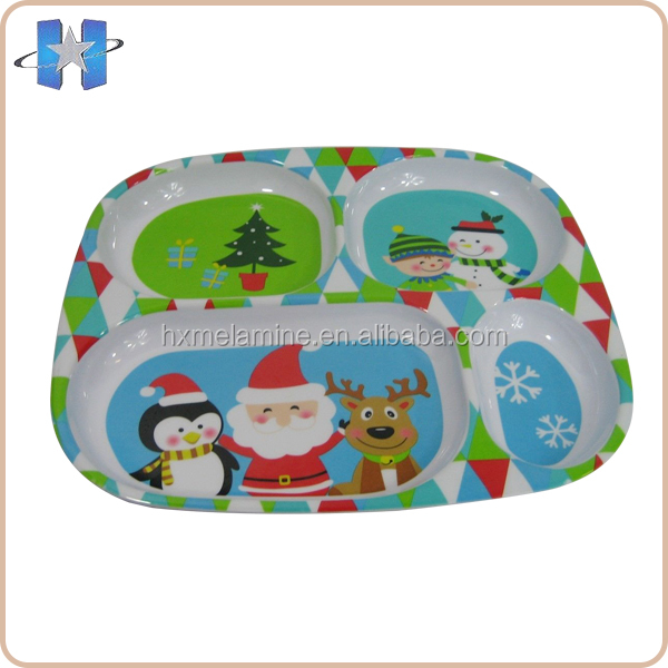Kids Christmas Melamine Divided Serving Tray