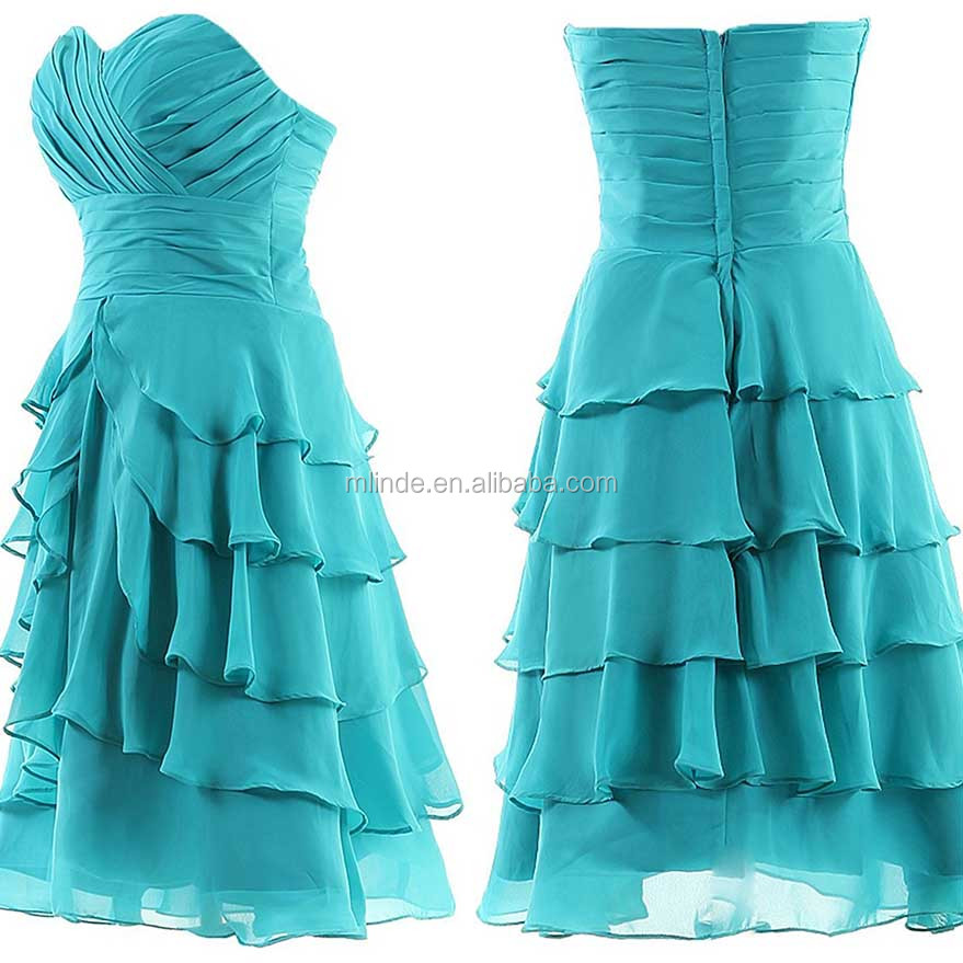 Bridesmaid Dresses Wedding Knee Length Sweetheart Bridesmaid Chiffon Tiered Prom Dress Cheap Bridesmaid Dresses With Five Layers
