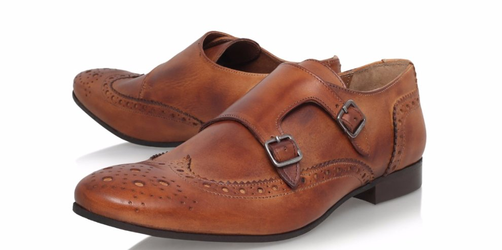 Double Monk Strap Dress Shoes , Buckle Formal wedding Shoes , Party brown Leather Shoes ,