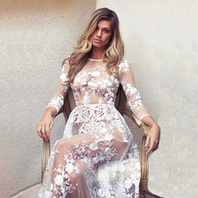 X61677A Women Sexy See Through Lace Embroidery White Transparent Long Banquet Night Party Dress