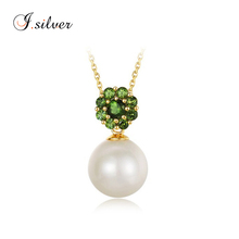 wholesale cheap 925 Sterling Silver gc zircon drop pearl Necklace Artificial Jewelry N1243