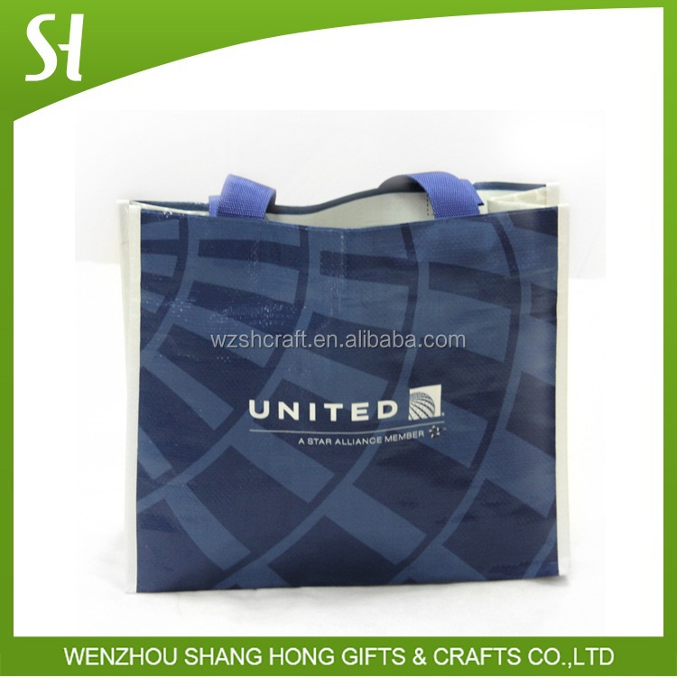 blue brand laminated polypropylene bag/eco pp woven shopping tote bag