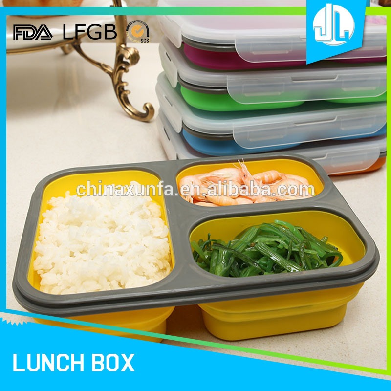 Reusable 3 compartment office cheap microwavable meal container