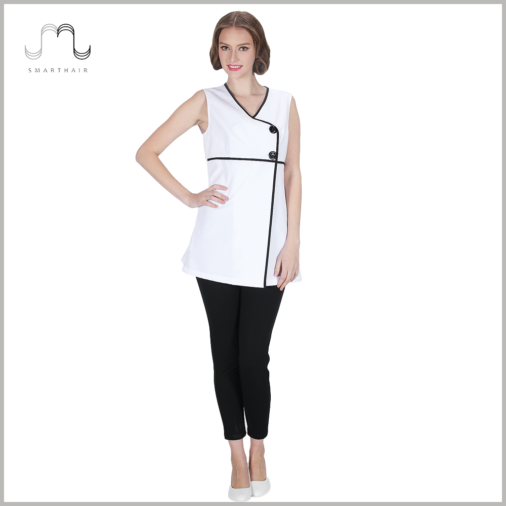 2017 Hot selling Fashion Design Ladies White Sleeveless Work Vest Smock Tops Uniforms