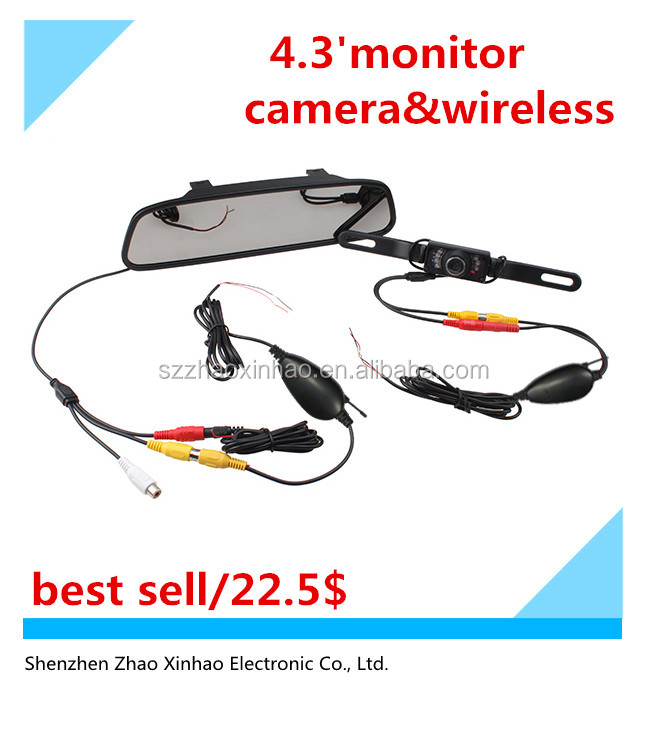 "4.3"" Inch TFT Car LCD Rear View Rearview DVD Mirror Monitor +Wireless Backup Camera,car reverse system"