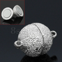 Handmade Copper Magnetic Clasps Ball Silver Plated Stardust 17x12mm,5 Sets