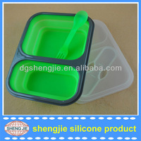 Silicone Collapsible Lunch Box with 2 Compartments /Collapsible silicone lunch container with 2 Compartments lunch carrier