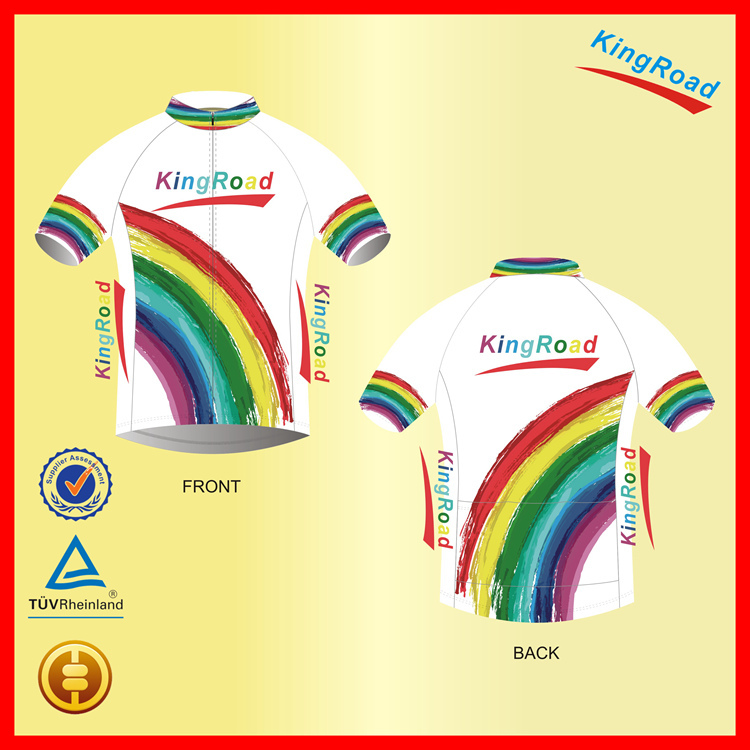 Rainbow Style Jereys/Shirts, Customized Cycling Shirts with your own Logo, Lower MOQ