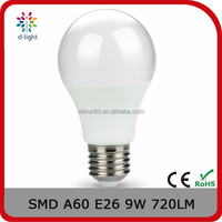 A60 720lm 9w equal to 70w E26 PC cover led light for US market