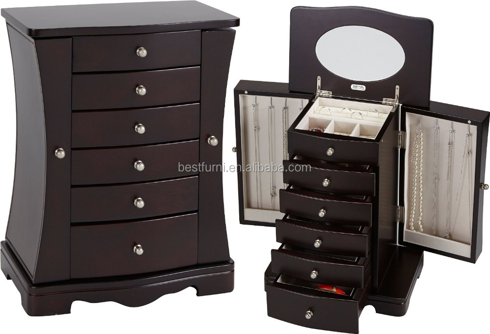 2017 Handcrafted Wooden Jewelry Storage Box Jewelry Armoire Black Distributor&Supplier&Factory