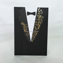 Bride dress and groom suit design pocket wedding invitation card
