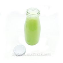 Xuzhou high quality 250ml clear glass milk bottle with metal lid