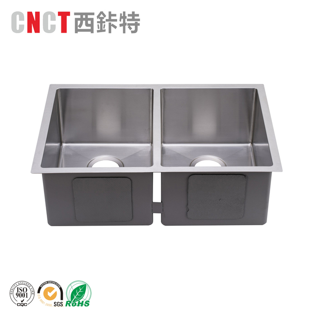 China factory handmade double bowl undermount stainless steel brushed kitchen sink