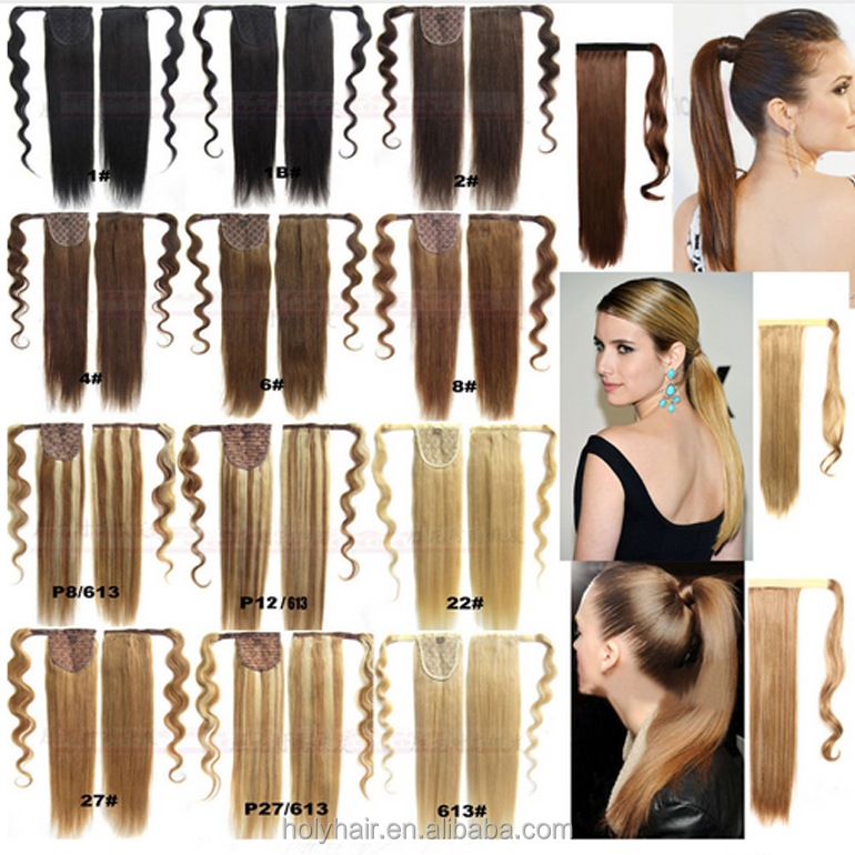 Best selling products dropshipping straight brazilian hair Ponytail Wrap Around Clip in Ponytail Hair Extensions for Women