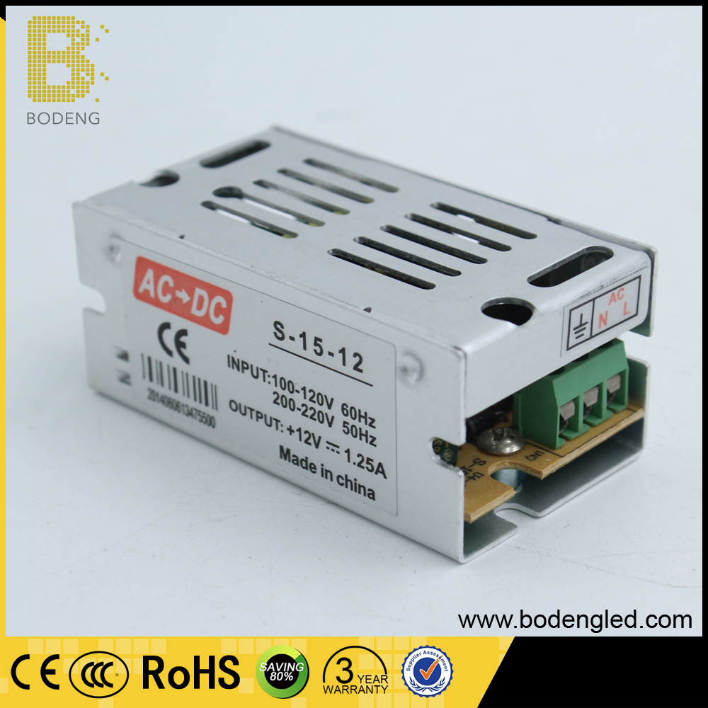ac to dc 110-220v switching powersupply 12v 1.25A 15w Enclosed Low Profile Single Output Switching Power Supply