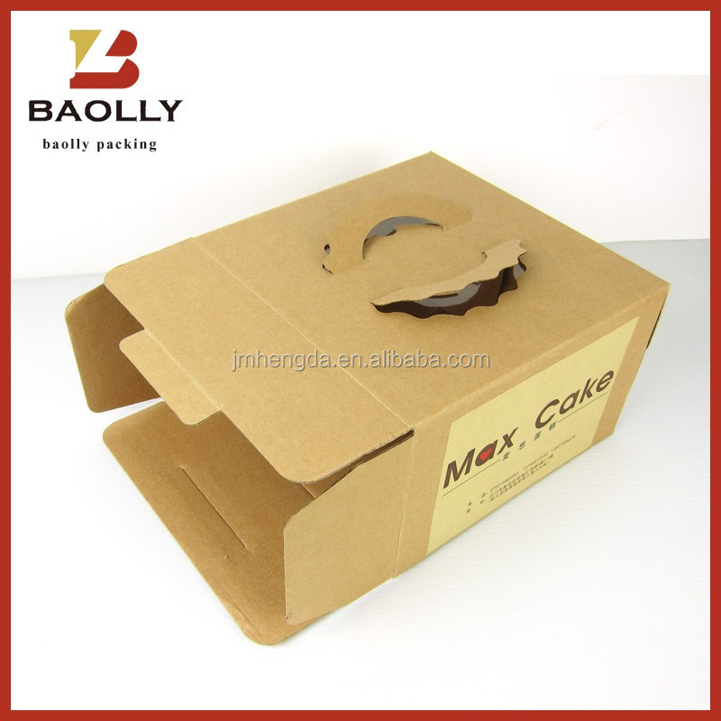 Paper folding birthday cheese cup cake box design with plastic window rectangular cake box for wedding with handle packaging