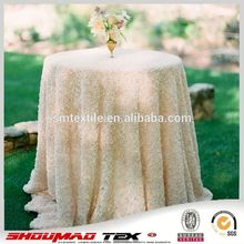 luxury special embroidery ivory satin rose hotel table cloth for wedding