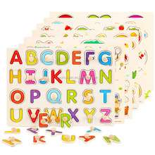 Educational Toy 3d alphabet jigsaw game wooden puzzle for kids