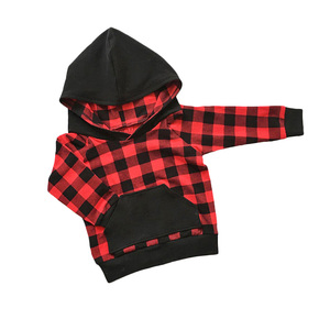 Wholesale Infant clothing Buffalo Plaid Baby Hoodie Fall Baby Clothes Girl