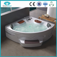 Acrylic Indoor Cheap Rectangular Corner Massage Bathtub With Glass