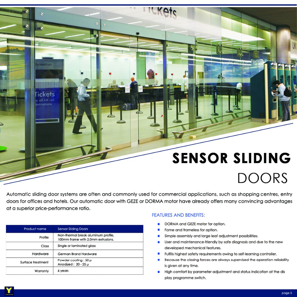 Exterior commercial automatic double tempered glass for Exterior sliding door systems