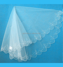 Most popular embroidery long lace trim bridal wedding veils