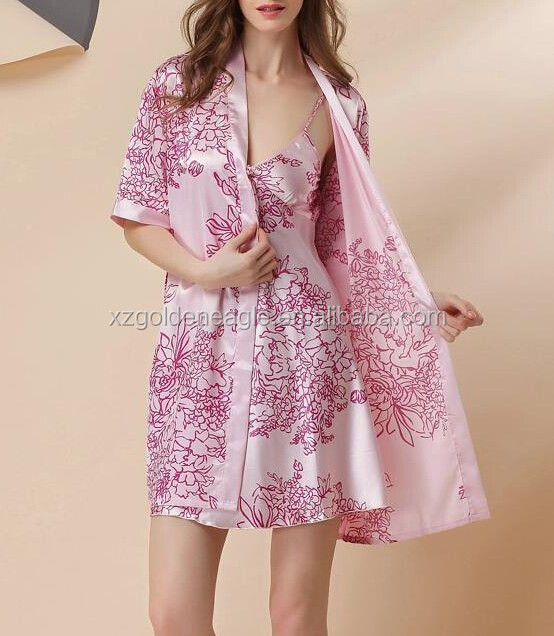 Beautiful Printed 100% Natural Silk night Gown Sets
