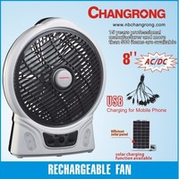 plastic factory price battery charge table fan with mobile phone charger