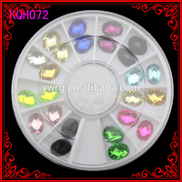 KQH072 Colorful Oval Acrylic new decoration Jewelry rhinestone crystal glitter nail art