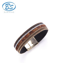 OYSB040 new style sexy party cute crystal bangle thin leather crystal leopard horsehair bracelet jewelry